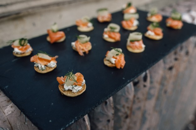 Pieminister salmon canapes on a board