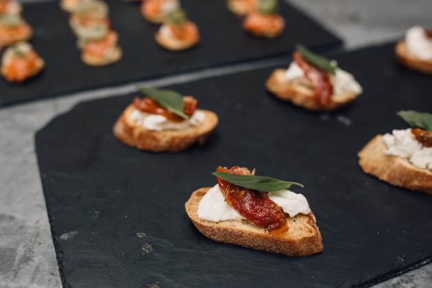 Pieminister canapes on a board