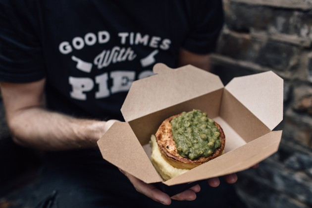 Hot Pie and Mash in a take away box