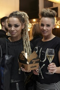Party-goers enjoying Pieminister pies and Nyetimber bubbles